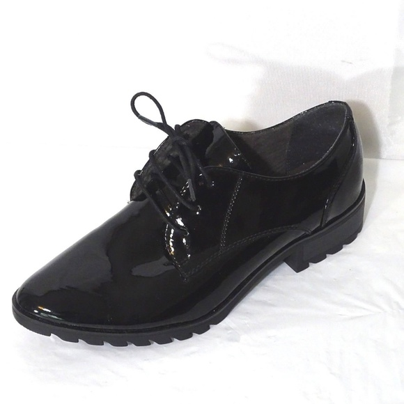 Tamaris Patent Leather Pointed Toe Lace Up Ofxord